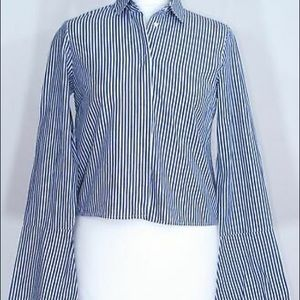 Zara Stripe Button Down Bell Sleeve Blouse